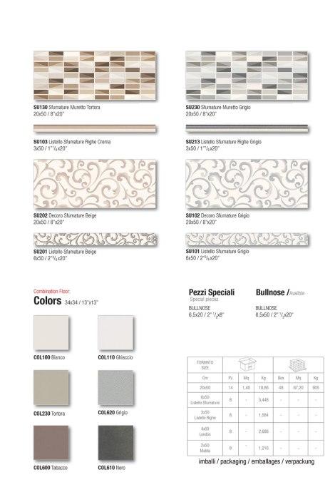 Muretto Tortora / Muretto grigio / Decoro Beige / Decoro Grigio / Matching Floor